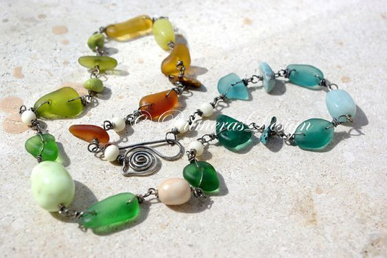 MULTICOLOR seaglass necklace with gemstones. by PalmerasDesign, $98.00