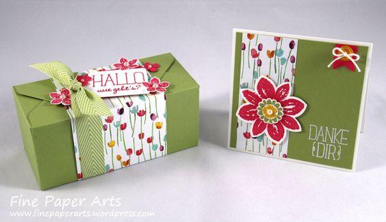 Stampin' up! Envelope Punch Board Box Frühling, Karte Frühling, Envelope punch board box springtime, Card springtime, DSP Painted Blooms, DSP Zarter Frühling - Fine Paper Arts