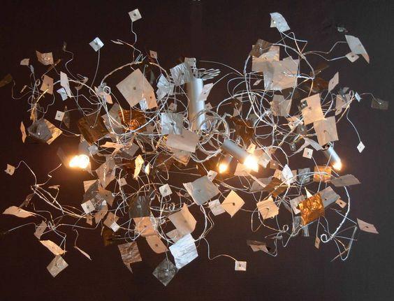 lustre tourbi papier 5 ampoules cr ation la boutique d 39 art plusieurs mod le disponibles sur. Black Bedroom Furniture Sets. Home Design Ideas