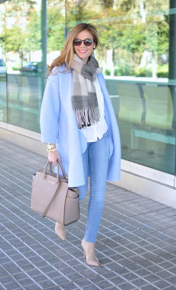 Blue coat, scarf, Steven Madden booties, Michael Kors bag: