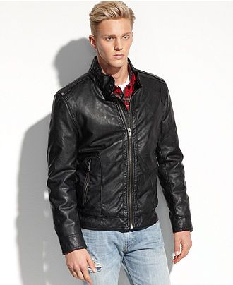 GUESS Coats, Lightweight Faux Leather Moto Jacket - Coats ...
