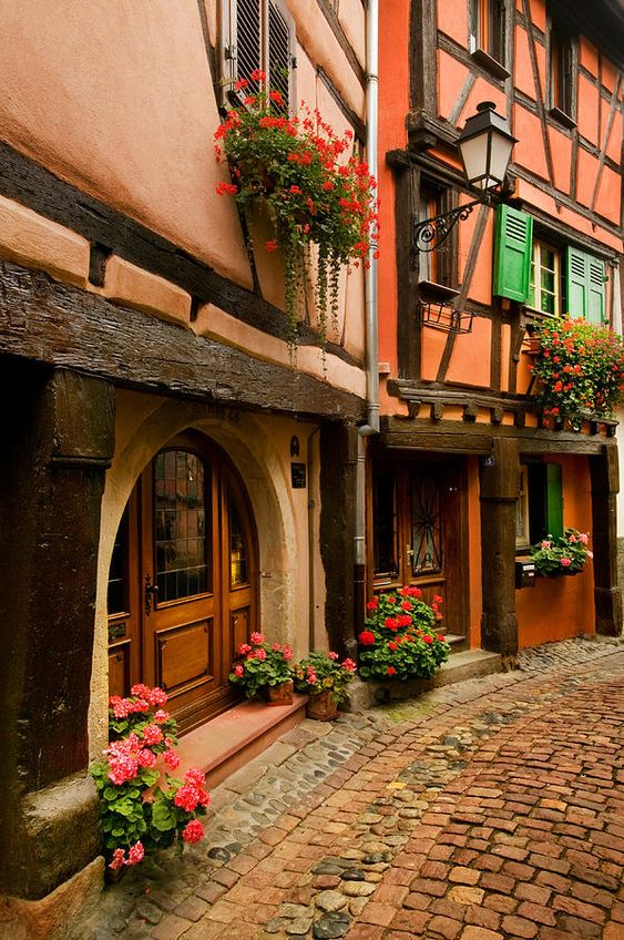 Cobble Stoned Street - Alsace, France...absolutely beautiful!