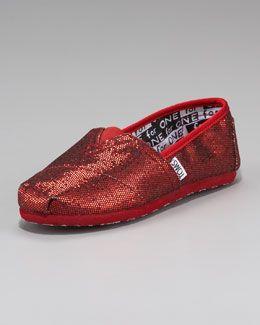 Z0K2T TOMS Red Glitter Shoe, Youth