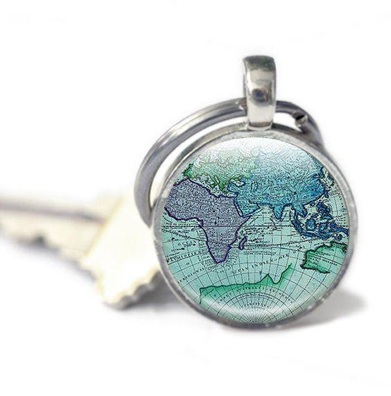Map Keyring key chain Antique Maps world keyring photo keyring – Map World Globe Keyrings