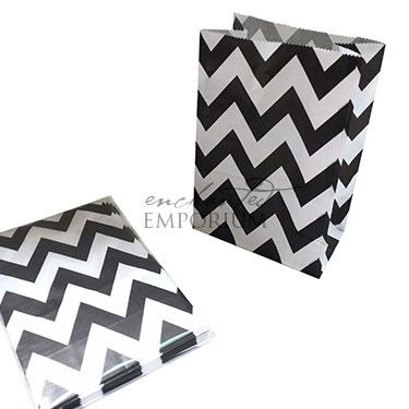 Noir Chevron Standing Treat Bags - Pack of 12 / Lolly Buffet Supplies