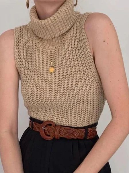 Women's High Neck Sleeveless Knit Sweater Vest – linenlooks  This knitted vest is popular with the elegant women to wear in casual occasions in summer or fall.  color knit,knit tops outfit,knit tops outfit casual,knit tops for women  #colorknit #knittopsoutfit #knittopsoutfitcasual #knittopsforwomen