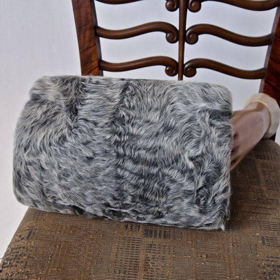 40's Vintage Curly Gray Lamb Fur Muff Purse Czech