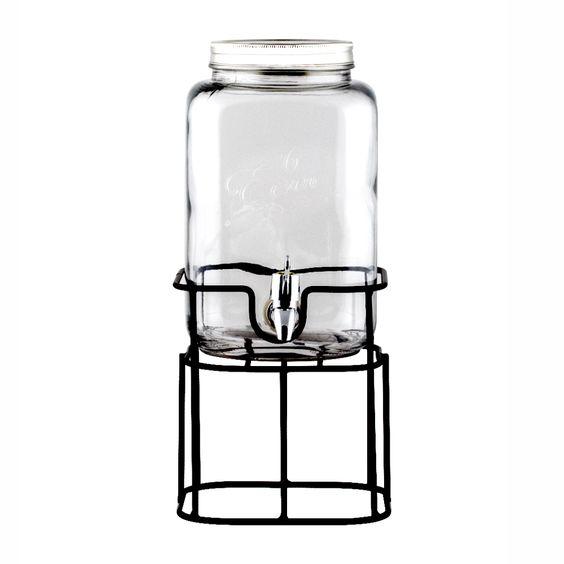 Jarro de vidrio con soporte de metal y dispensador de líquidos. Capadidad 3.250 ml. Cuidados: Apto para lavavajillas. No apto para microondas.