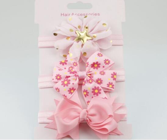 3Pcs Baby Elastic flower headband Headbands Hair Girls Bebe Bowknot Hairband Bow