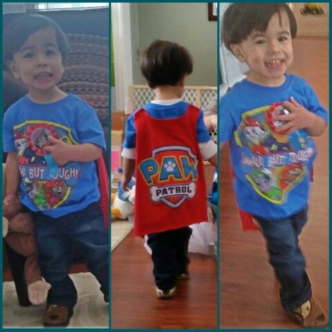 Paw Patrol Party outfit. Cape shirt found on amazon.com, party button from party city, puppy slippers (complete with adorable tail) from tj Maxx but stride rite brand