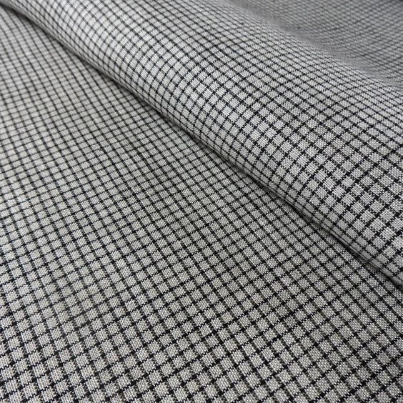 Pure Linen Fabric checkered black natural 1M - Nordic Style - (Lithuania) - 1 Meter/$27.99