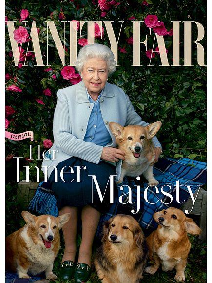 伊丽莎白王后与柯基犬和多吉斯一起参加名利场dorgi是柯基犬和腊肠犬的混合体摄影:Annie Leibovitz
