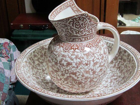 antique doulton burslem england pitcher basin bowl set brown transfer ware ware brown and. Black Bedroom Furniture Sets. Home Design Ideas