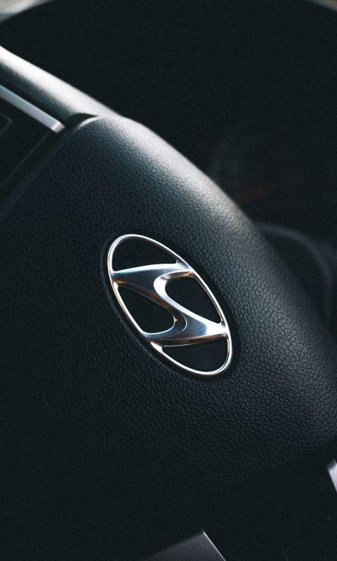 480x800 Wallpaper Hyundai Steering Wheel Logo Hyundai Logo Hyundai Car Iphone Wallpaper