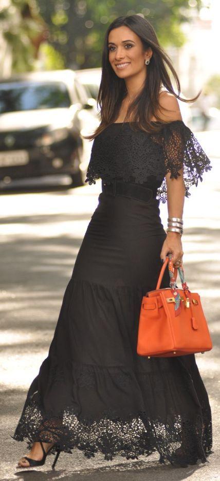 Maria Sophia Black Lace Off The Shoulder Maxi Dress: