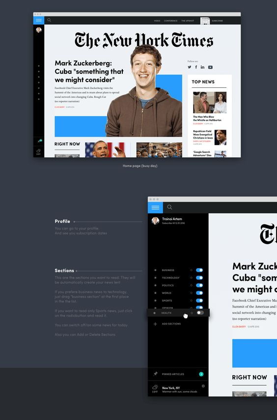 Conceito de redesign do New York Times - visual 2