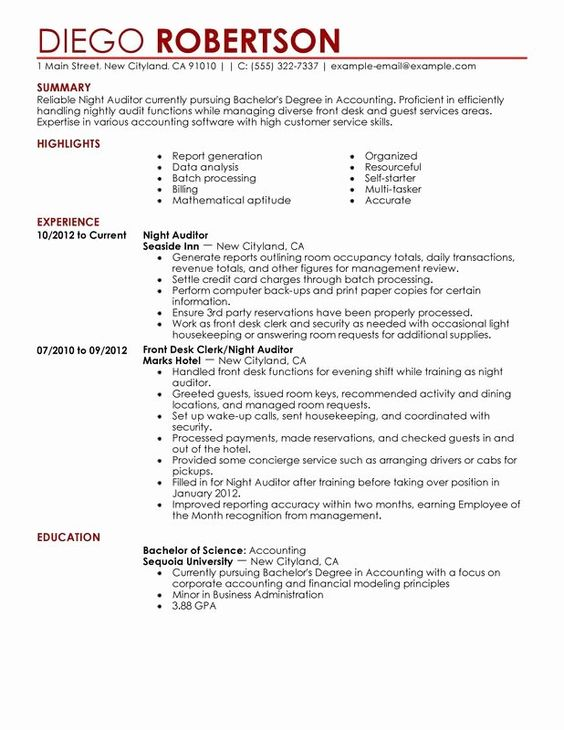 Front Desk Duties Resume Unique Night Auditor Resume Examples Free To Try Today