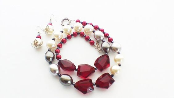 Necklace & Earring Set Deep Red Wine Crystals by CharismaJewellery
