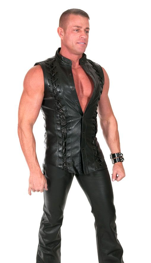 Triple Laced Leather Shirt FRONT view by 665 Leather.