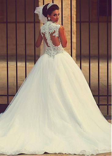 Eye-catching Tulle & Satin Queen Anne Neckline Ball Gown Wedding Dresses