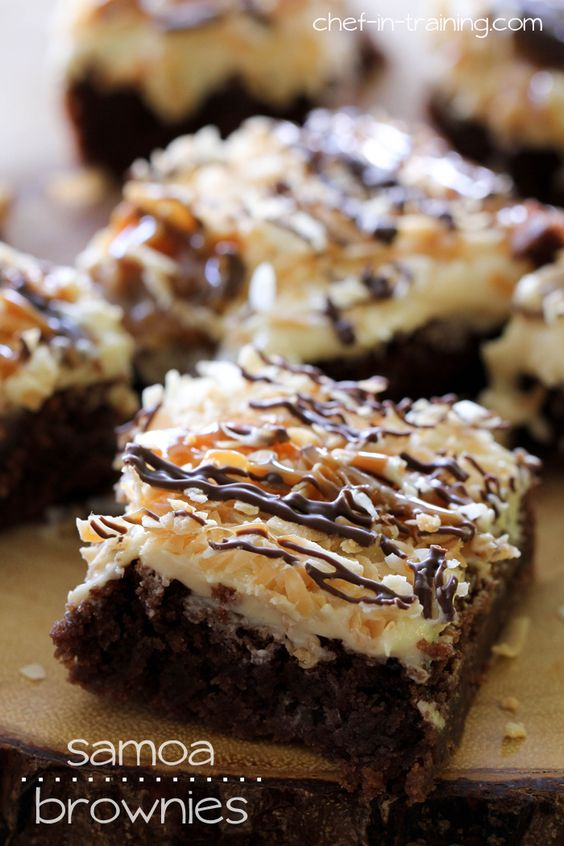 Samoa Brownies from chef-in-training.com ...Rich fudgey brownies toped with a delicious salted caramel buttercream, toasted coconut, chocola...