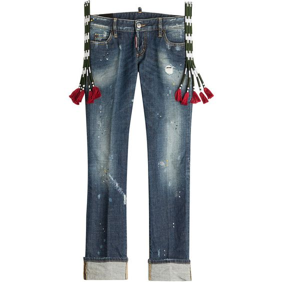 Dsquared2 Distressed Cropped Jeans (1,065 CAD) ❤ liked on Polyvore featuring jeans, pants, bottoms, blue, fringe jeans, destroyed cropped jeans, distressed jeans, slim fit jeans and blue jeans