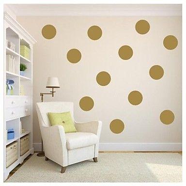 JiuBai®+Gold+Polka+Dot+Wall+Sticker+Wall+Decal,18CM/Dot,+10Dots/Set+–+GBP+£+18.24