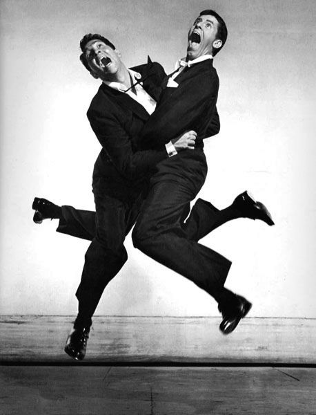 "Life Magazine's ""Jumpology"" photo of funnymen Dean Martin & Jerry Lewis"