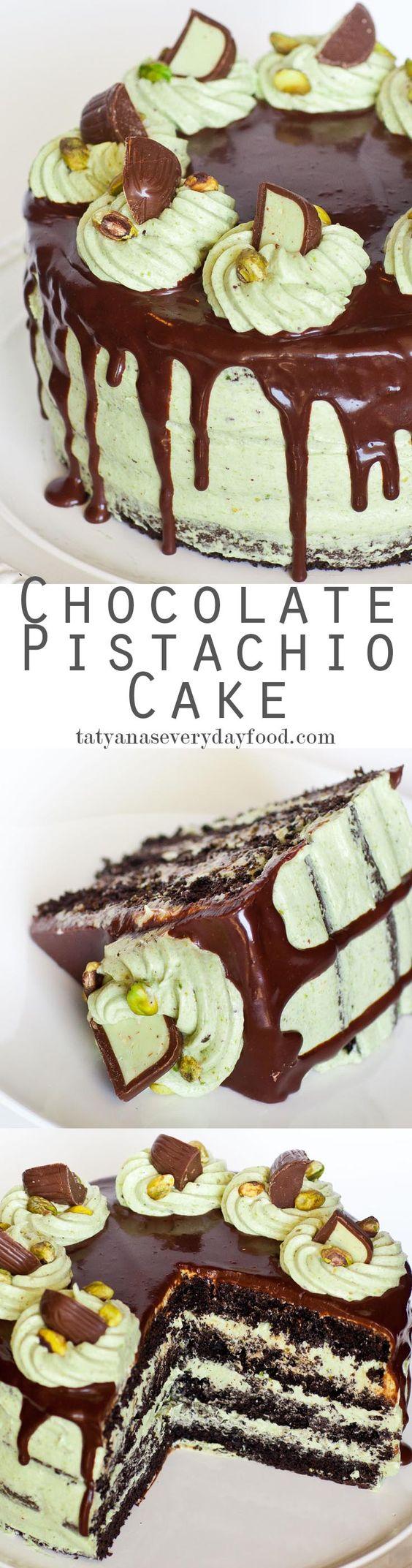 Chocolate Pistachio Cake with Irish Cream - with video recipe! {Tatyana's Everyday Food}