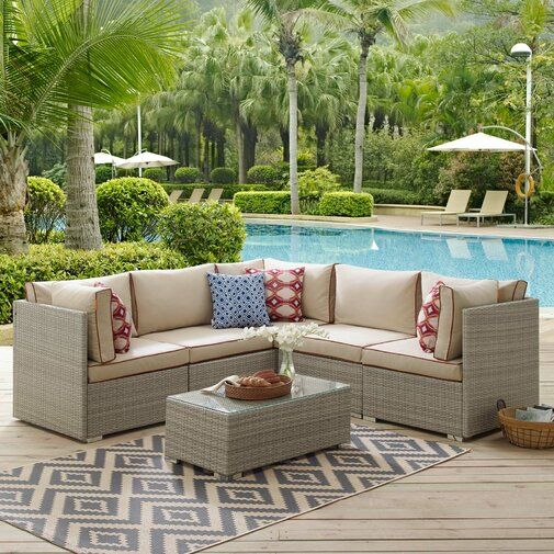 Heinrich Outdoor Patio 6 Piece Rattan Sectional Seating Group With Sunbrella Cushions Patio Sectional Luxury Patio Furniture Sunbrella Cushions