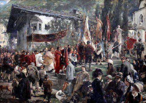 Procession in Hofgastein - Adolph von Menzel  1880