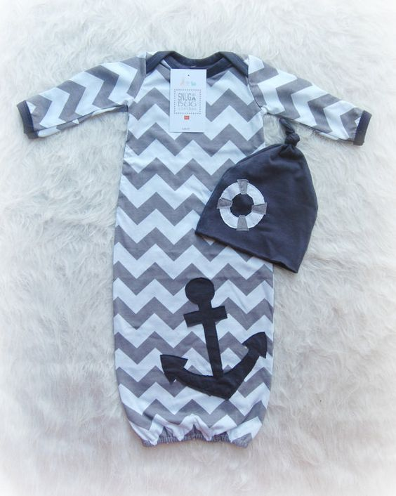 Gray Nautical Baby Boy Gown ing Home Outfit with