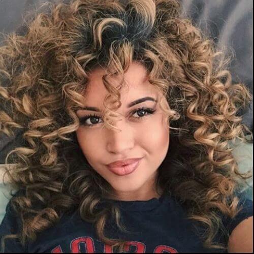 Curly Dark Hair With Blonde Highlights Curly Hair Styles Naturally Hair Styles Natural Hair Styles