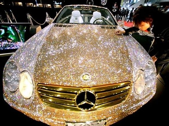 Diamond Mercedes - THE CAR COSTS 4.8 MILLION, AND IF YOU WANT TO TOUCH IT, YOU HAVE TO PAY 1000.     IT BELONGS TO PRINCE AL WALEED FROM SAUDI ARABIA. http://planetnista.tumblr.com/