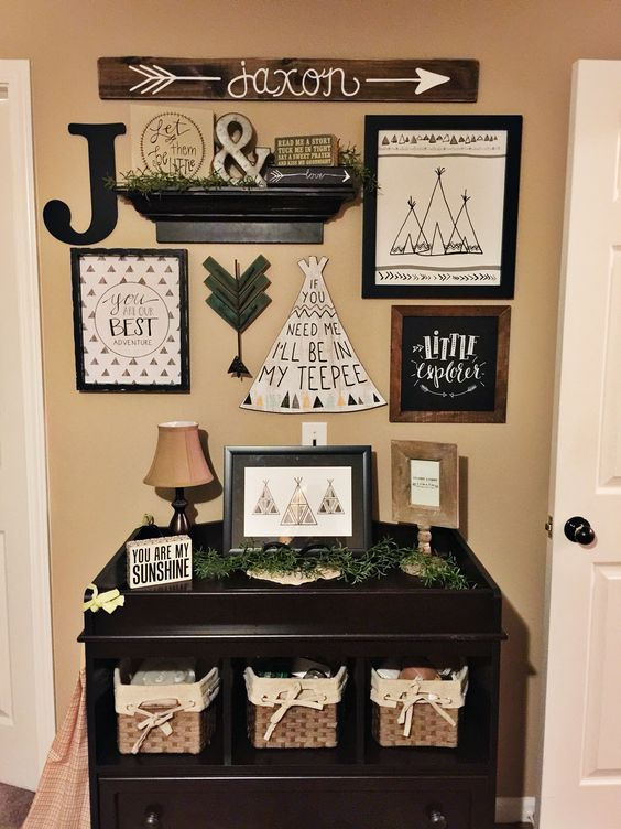 Worked on this gallery wall in Jaxon's room this evening  Making it into a woodland themed rustic little boys room instead of a nursery. Converted the changing table over to a display area for some cute and functional accessories.  Had quite a bit of fun putting this together ❤️