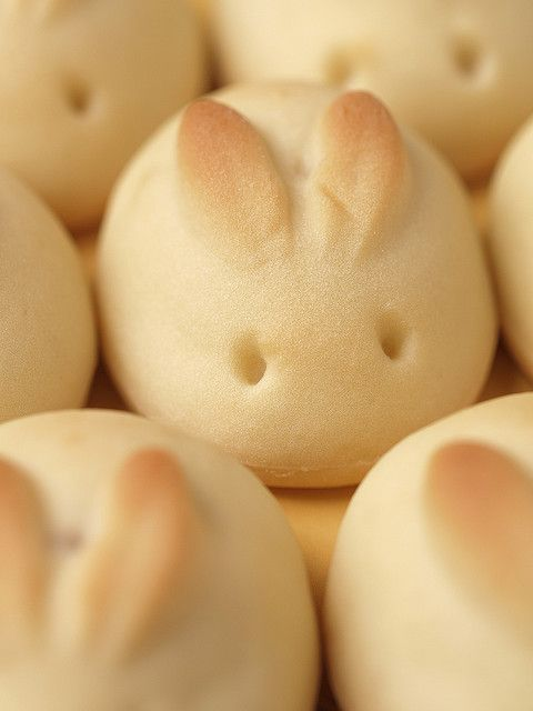 Cute Easter bunny rolls - use your favorite raised yeast roll recipe, and shape them like eggs, then poke two holes for eyes and pinch the ears up. Let rise, re-poke the eye holes if needed, and bake.: