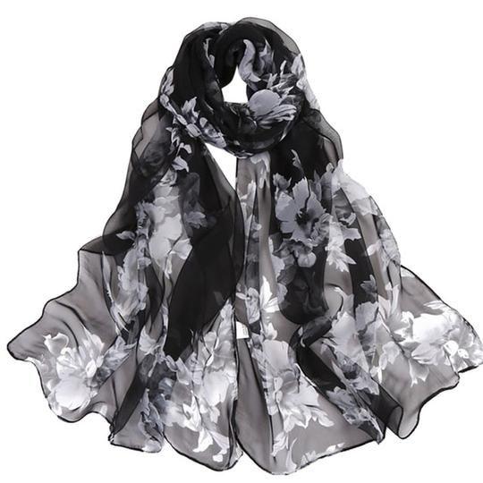 Scarf For Women Lightweight Lady Flower Print Scarfs Long Soft Wrap Shawl Stole Pashmina