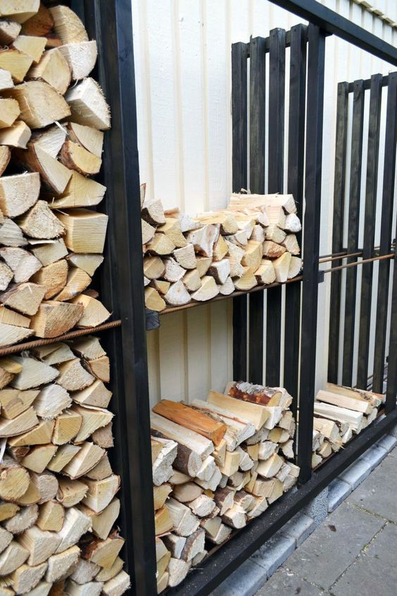 firewood outdoor storage made of wooden pallets #fireWoodStorage #firewoodrack #firewood #firewoodideas #organization #shelves