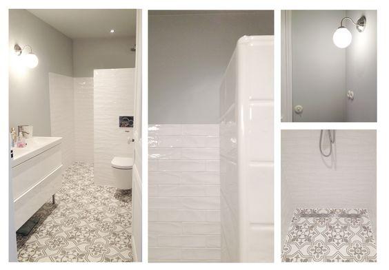 Salle de bain carreaux de ciment carreaux de m tro entrelesmurs pinterest - Salle de bain avec carreaux de ciment ...