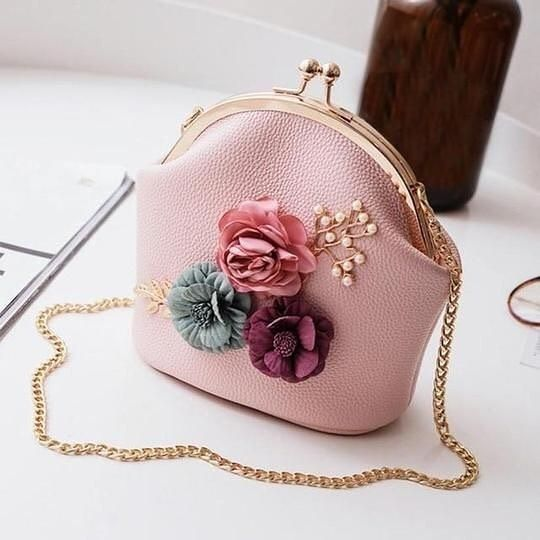 Women Ladies Floral Handbag Shoulder Stereo Flowers Bag Small Tote Ladies Purse