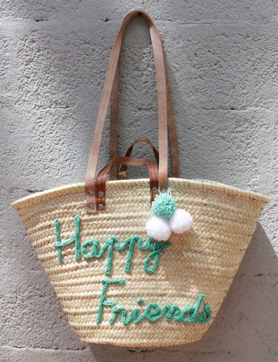 L'atelier Des Petites Bauloises: Panier de plage Happy Friends