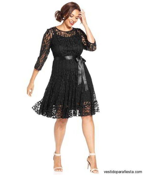 Vestidos cortos de encaje color negro para gorditas 2015 - https://vestidoparafiesta.com/vestidos-cortos-de-encaje-color-negro-para-gorditas-2015/