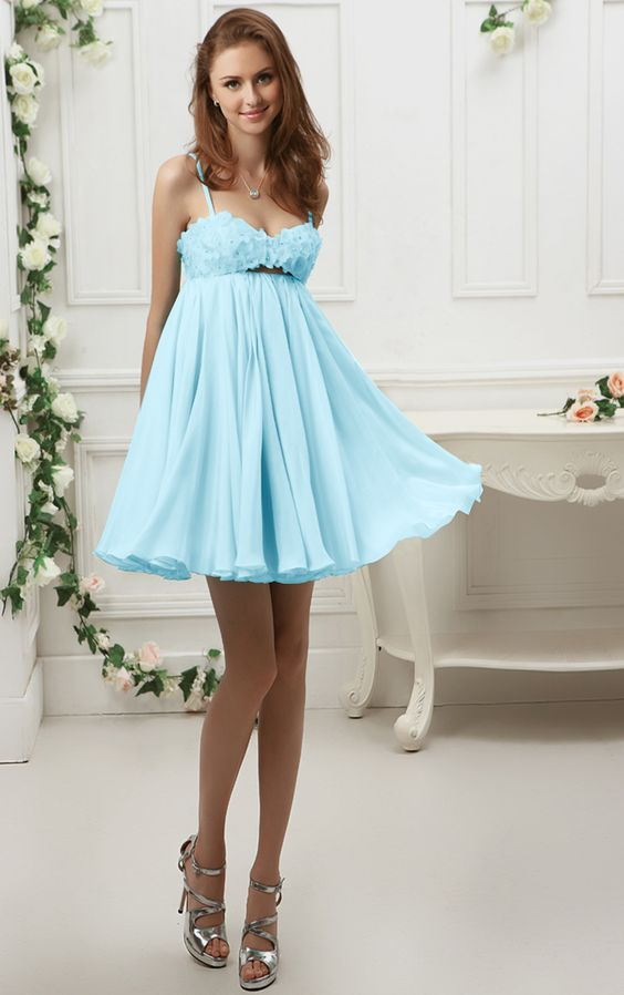 Spaghetti Straps Short Backless Chiffon Prom Dress with Flowers: