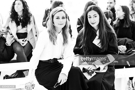 Olivia Palermo and Nausheen Shah pose front row at the Delpozo Runway Show during New York Fashion Week at Pier 59 Studios on February 15 2017 in New...
