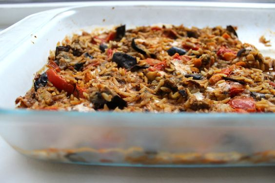 : Baked Orzo with Eggplant and Mozzarella | Food | Pinterest | Orzo ...