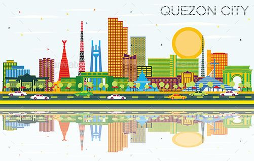 Quezon City Philippines City Skyline With Color Philippines