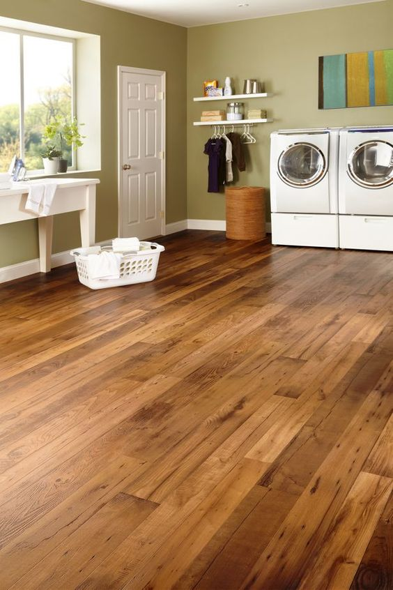 StrataMax Better Armstrong vinyl wood look flooring. Woodcrest Dark Natural. My brother has this. Would be perfect (and safe) for my basement.