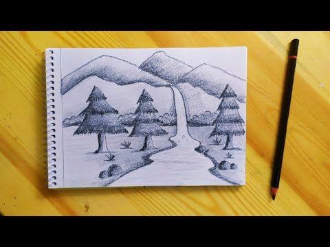 رسم منظر طبيعي سهل جدا بالقلم الرصاص للمبتدئين How To Draw Easy Sketch Scenery Step By Step Yout Diy Canvas Art Painting Diy Canvas Art Canvas Art Painting