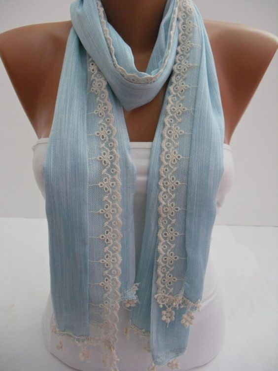 Women   Shawl / Scarf  Headband  Cowl with Lace Edge by DIDUCI, $19.00