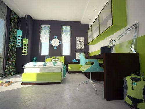 Farbgestaltung fürs Jugendzimmer – 100 Deko- und Einrichtungsideen - grau wandgestaltung farben jungen schüler schreibtisch bett